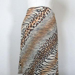 VINTAGE EXPRESS Abstract Animal Print Silky Skirt